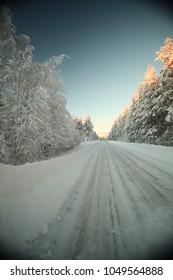 Icy road in Vaesterbotten in northern Sweden.