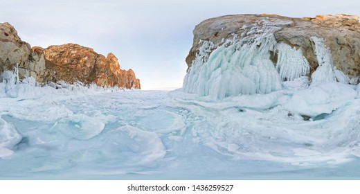 icy rocks of Olkhon Island are Lake Baikal. Spherical 360 180 vr panorama