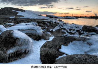 Icy sea coast