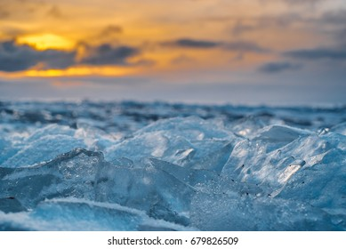 icy sea at sunset, Gulf of Finland
