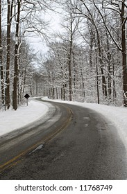 An icy and snowy road leading into the forest