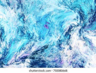 Icy waves. Blue artistic splashes. Abstract cold painting pattern. Soft texture for creative graphic design. Futuristic background for poster, cover booklet, banner. Fractal art.