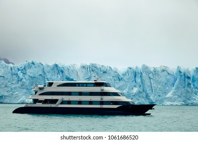 Icy wilderness views as seen from a boat sailing in Lake Argentino in Los Glaciares National park, near El Calafate, Patagonia, Argentina.