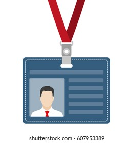 ID card, badge or access card with lanyard.