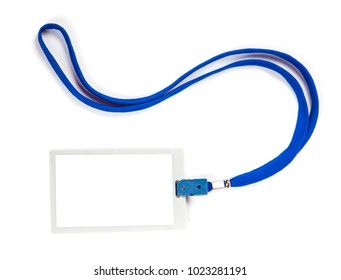 ID card badge with blue ribbon on white isolated background. mock-up. Copy space for text