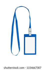 ID card badge with blue ribbon. Space for text. Isolated on white.
