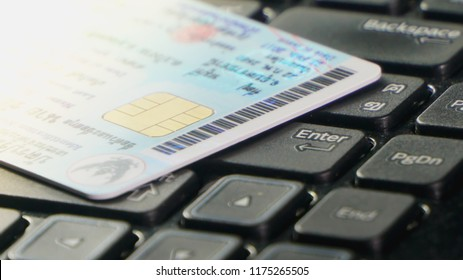 ID card is on the computer keyboard