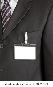 id card on man's suit
