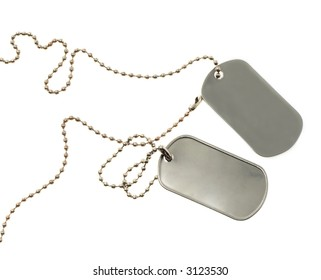 Id tag isolated on a white background. See other photos of Id tags in my Portfolio