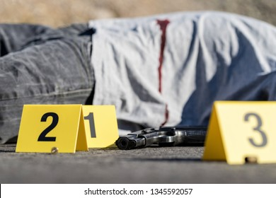 ID tents at crime scene after gunfight