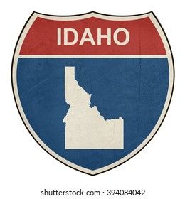 Idaho American interstate highway road shield isolated on a white background.