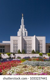 Idaho Falls, Idaho - July 2 2009: The Idaho Falls Idaho Temple, a Mormon temple in the downtown.