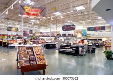 Idaho Falls, Idaho, USA,  28 June, 2016 The interior of a modern grocery store with specialty departments and kiosks.