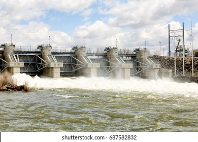 Idaho Falls, Idaho, USA  April 19, 2017 The cities lower hydroelectric dam on the Snake River, producing pollution free electricity that is put into the North east power pool..