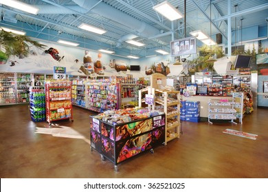 Idaho Falls, Idaho, USA Dec. 4, 2008 The interior of a modern convenience store, with impulse snack items and drinks for sale.