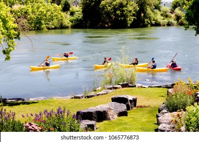Idaho Falls, Idaho, USA July 18, 2016 A kayaking class for teenagers to teach techniques and safety on the water, sponsored by  a city parks and recreation department.