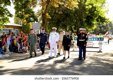 Idaho Falls, Idaho, USA July 4, 2016 Vetrans representing the Navy, Air Force, Army, and Marines, and from various wars, march in the annual foruth of July Parade in Idaho Falls, Idaho.