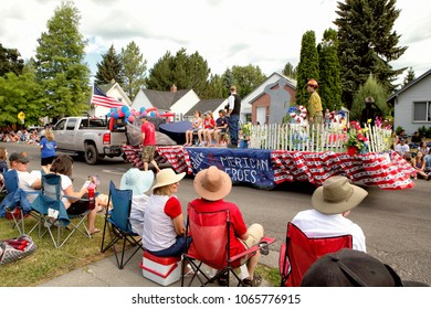 Idaho Falls, Idaho, USA July 4, 2016 A group of people gatherd to watch an annual foruth of July Parade.