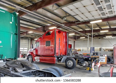 Idaho Falls, Idaho, USA July 8, 2015  A repair shop with grease pit and equipment for repairing semis and large over the road trucks.