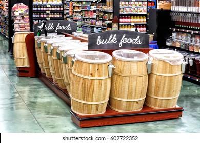 Idaho Falls, Idaho, USA June 6, 2016 The interior of a modern grocery store showcasing the bulk food section.