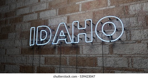 IDAHO - Glowing Neon Sign on stonework wall - 3D rendered royalty free stock illustration.  Can be used for online banner ads and direct mailers.