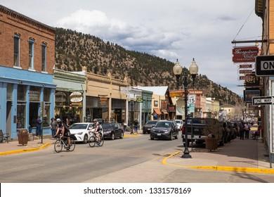 IDAHO SPRING, COLORADO - APRIL 29, 2018: Street scene from historic western Idaho Springs, Colorado mining town