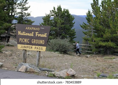 Idaho Springs, CO, USA: At 11,000 feet this scenic picnic area overlooks evergreen forest. Juniper Pass Picnic Grounds sign in Arapahoe National Forest off Highway 103