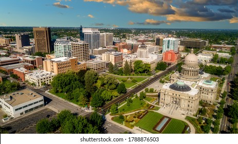 Idaho state capital with the Boise skyline background