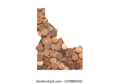 Idaho State Map and Money Concept, Piles of Coins, Pennies