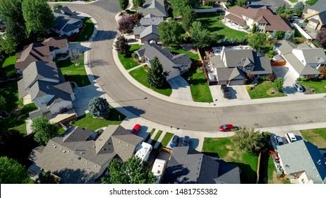 Idaho subdivision view from above in the mid day sun