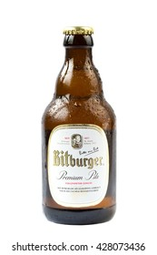 IDAR-OBERSTEIN, GERMANY - MAY 25, 2016: Stubby bottle of Bitburger Beer on white background. Bitburger is a German brewery founded by Johann Wallenborn in 1817.