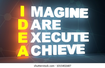 idea acronym from imagine, dare, execute and achieve words. Motivation concept. 3D rendering