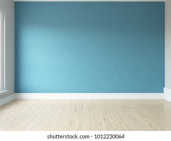Idea of a blue empty scandinavian room interior with large wall and white landscape in window. Home nordic interior. 3D illustration