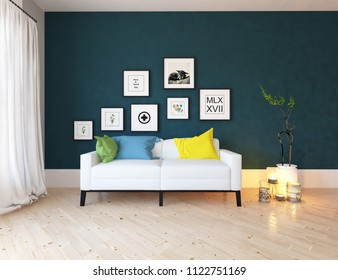 Idea of a blue scandinavian living room interior with sofa, vases on the wooden floor and pictures on the large wall and white landscape in window with curtains. Home nordic interior. 3D illustration