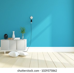 Idea of a blue scandinavian room interior with dresser on the wooden floor and large wall and white landscape in window. Home nordic interior. 3D illustration