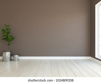 Idea of a brown empty scandinavian room interior with plant in vases on the floor and large wall and white landscape in window. Home nordic interior. 3D illustration