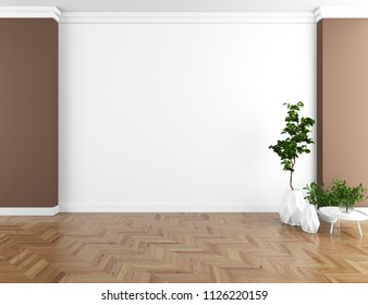 Idea of a brown empty scandinavian room interior with vases on the wooden floor and large wall and white landscape in window. Home nordic interior. 3D illustration