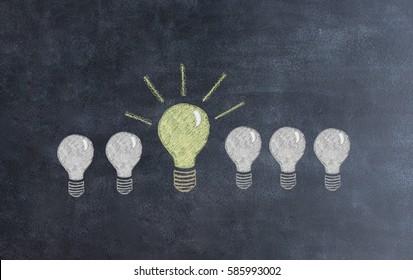 idea bulb on chalkboard background. solar  concept