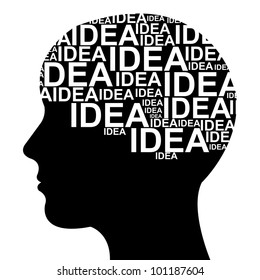 Idea Concept  in Brain Isolated on White Background