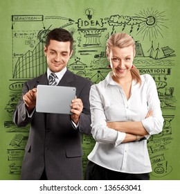 Idea concept. Business team, woman with folded hands and man with touch pad