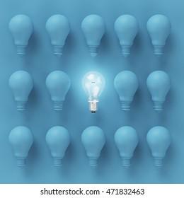 Idea concept : Creative light bulb Idea concept on blue background, flat lay , minimal concept