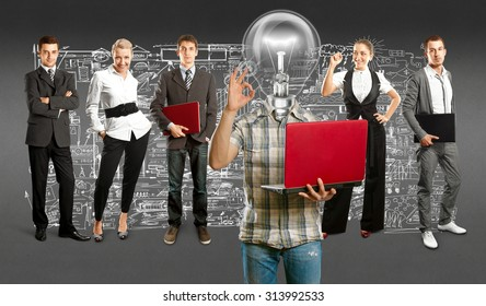 Idea concept. Lamp Head and Business team against different backgrounds