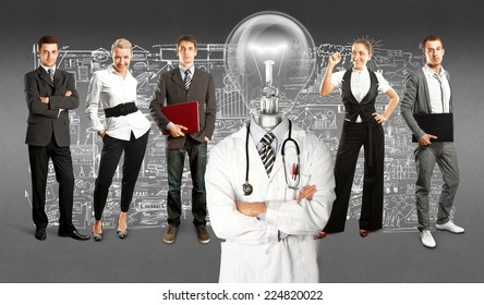 Idea concept. Lamp Head doctor and business team against different backgrounds