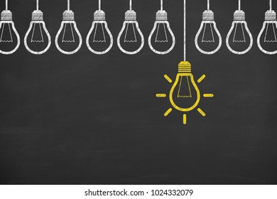 idea concept with light bulbs on a chalkboard background