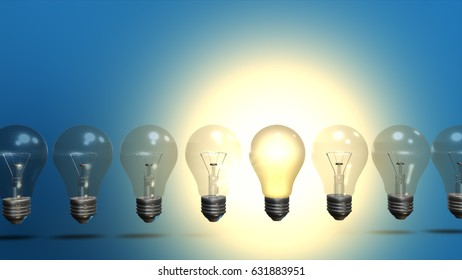 Idea concept with row of light bulbs and glowing bulb 3D illustration