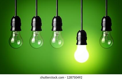 Idea concept.Green background.
