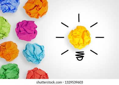 Idea Concepts Light Bulb with Crumpled Paper on White Background