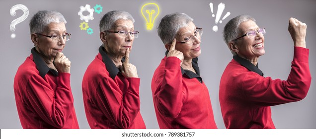 Idea creation process in a senior woman's mind, problem, thinking, idea, solution