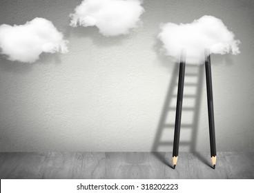 idea creative concept, pencil Ladder to clouds
