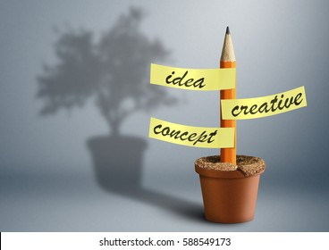 Idea creative concept, pencil with stickers as tree